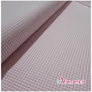 Tessuto quadrettato vichy rosa