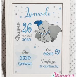 Poster quadretto nascita con elefante Dumbo per Leonardo
