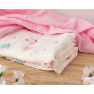 KioKids Mussolina bamboo in cotone arcobaleno e menta - farfalle rosa