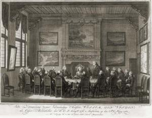 Een vergadering van Amsterdamse bewindhebbers.