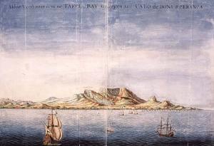 Zicht op de tafelbaai bij Kaap de Goede Hoop