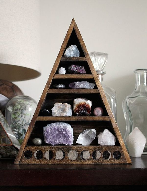 wooden crystal storage shelves