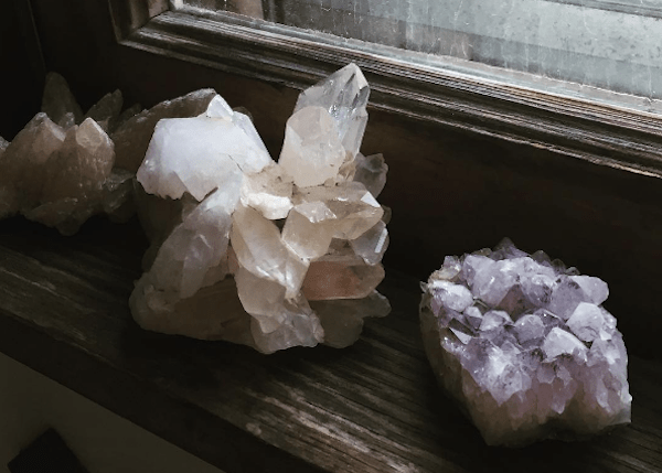 Crystals in a window sill