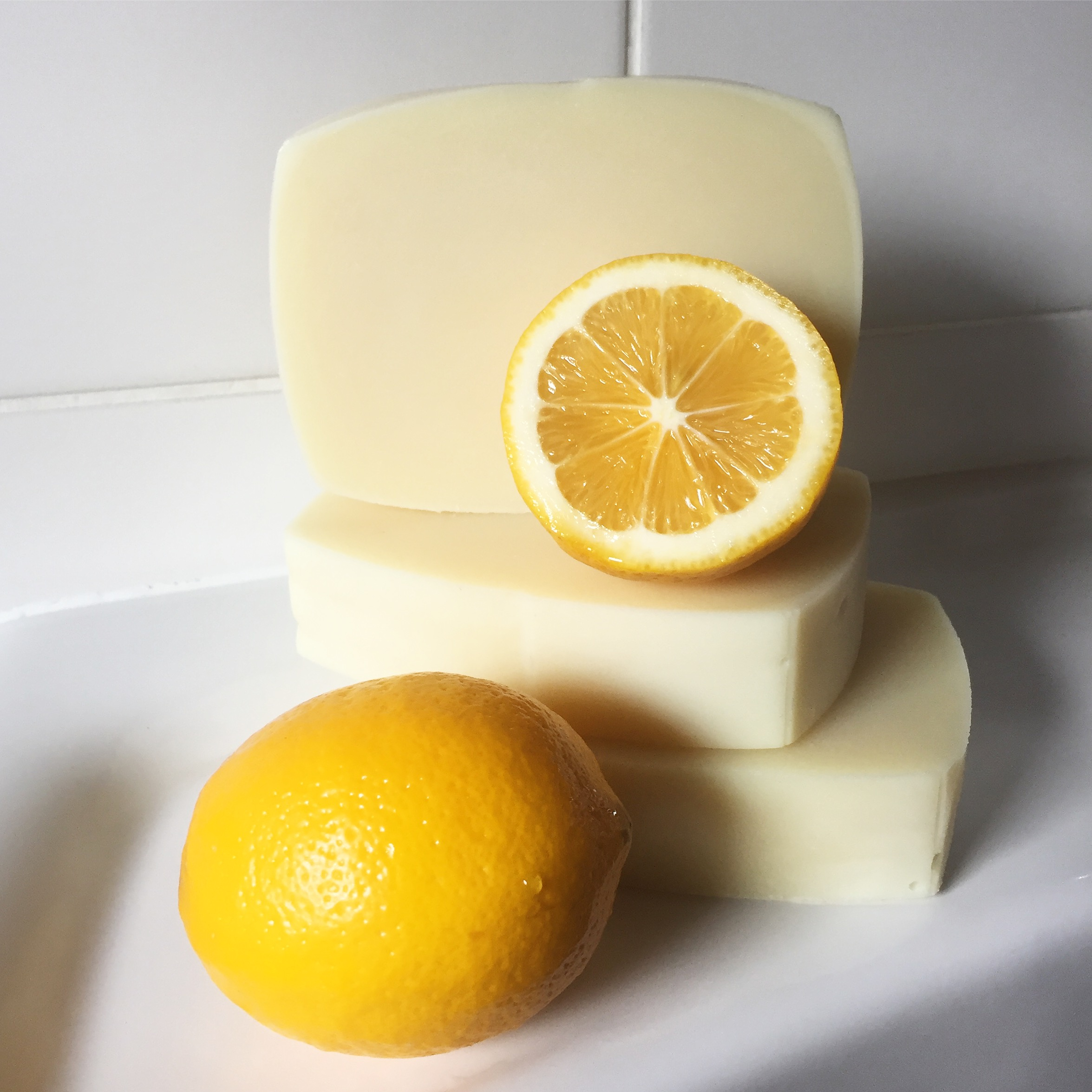 Lemon soap using recycled soap container