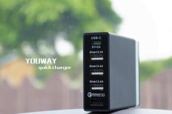 [充電器推薦]支援華為、MFI、QC3.0快充,YOUWAY五孔快速充電器,充電有它就行,桌面凌亂的最佳解。