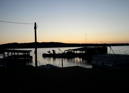 sunset behind the dock