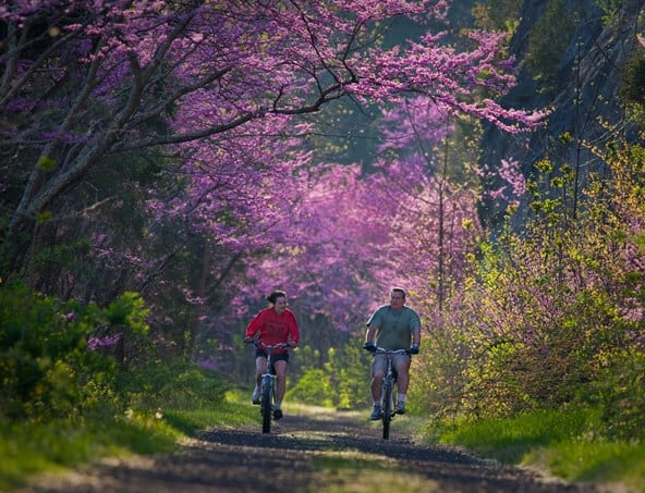 A couple enjoys bicycle riding on the New River Trail