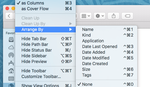 Screenshot of the Arrange By submenu from Mac OS X