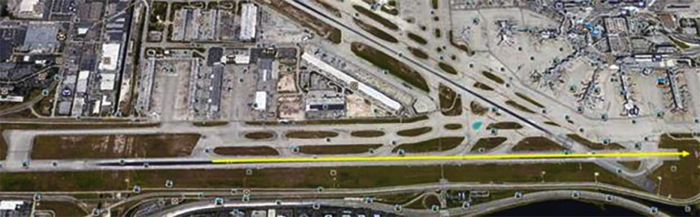Yellow line is aircraft ground roll. Source, QCAA report.