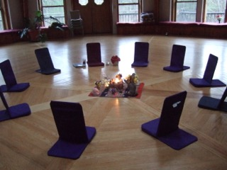 opening ceremony chairs around altar at breathwork and family constellations retreat near Boston.