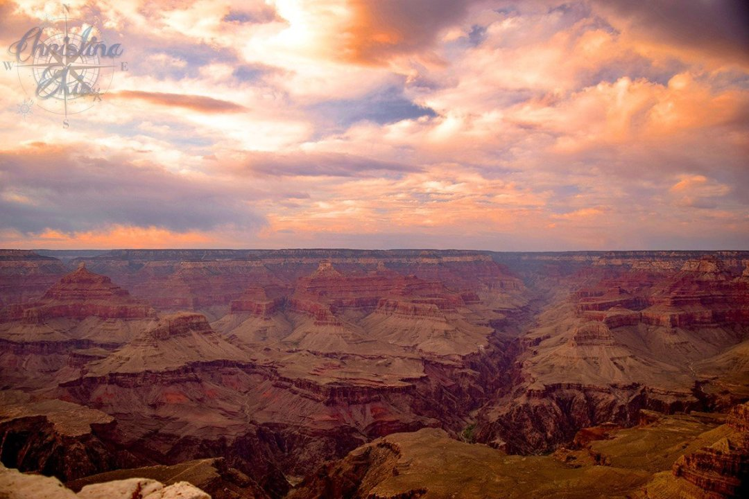 Sunset in Grand Canyon National Park // Copyright by Christina from ChristinaSkis.com // Used with permission.