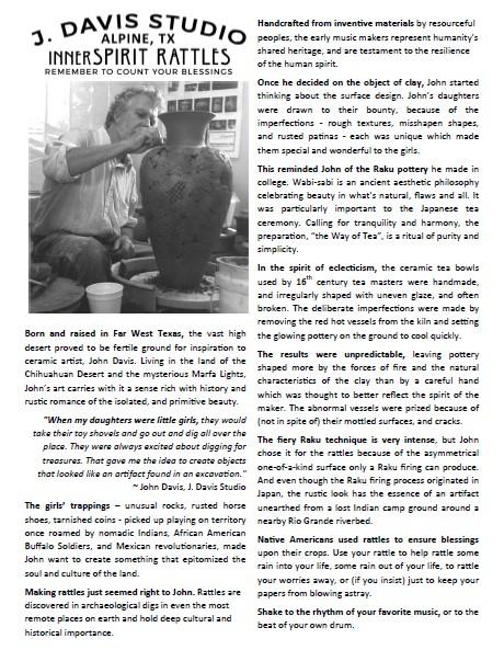 John Davis' inspiration to create innerSpirit Rattles