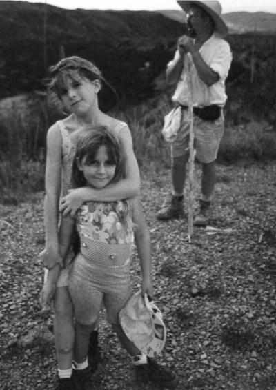 John Davis and daughters hiking in Big Bend National Park