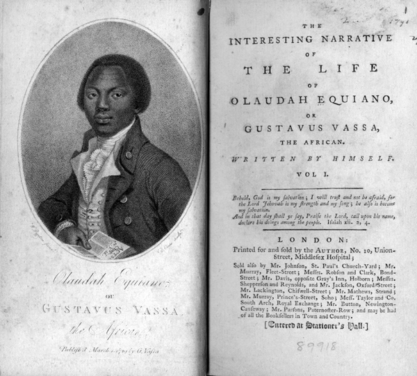 Frontispiece and title-page of The Interesting Narrative of the Life of Olaudah Equiano (1789)