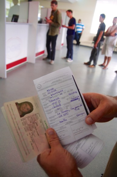 Costa Rican Customs and Immigration form.