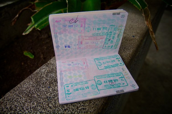 Nicaraguan and Costa Rican Exit and Entry Passport Stamps