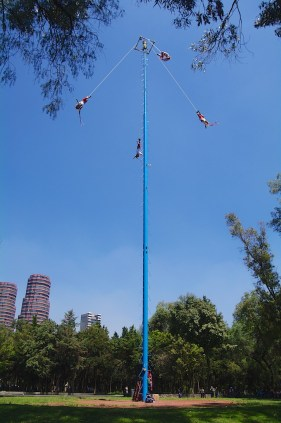 I've seen this ritual performed in Puerto Vallarta, and enjoyed it a second time in Mexico City. This ritual consists of climbing of a 30 meter pole from which four of the five participants then launch themselves tied with ropes to descend to the ground.