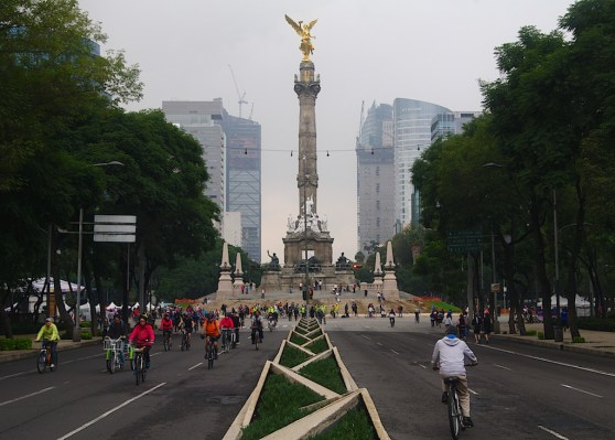 Paseo de la Reforma is a wide avenue that runs diagonally across the heart of Mexico City. Every Sunday the road is closed to traffic.