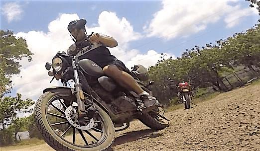 Gordon riding his moto to Casares, Nicaragua