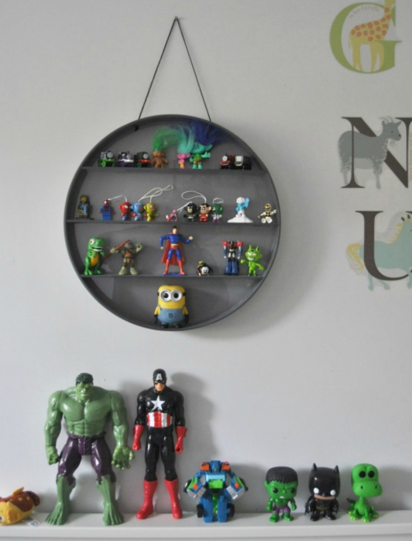 Boys Bedroom Decor includng round shelf from Dinky and Dandy