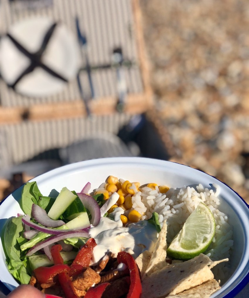 Inspiration for a Beach Picnic Date Night with Fajita Bowl Recipe featuring Wayfair at Innocent Charms Chats