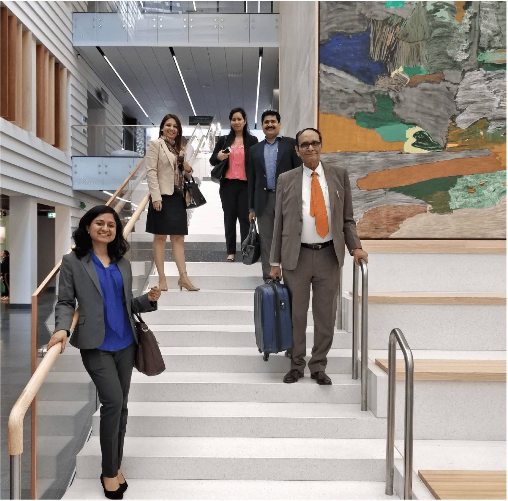 Figure 3 - Indian delegation appreciating the serene and modern setting of Karolinska University Hospital