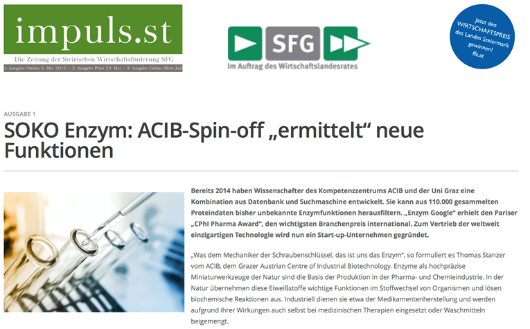 "SOKO Enzyme: ACIB spin-off ""detects"" new functions – impuls.st"