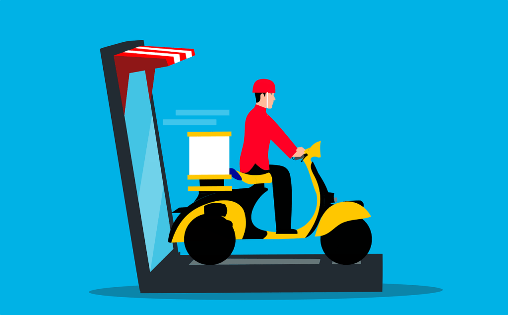 courier, delivery, scooter
