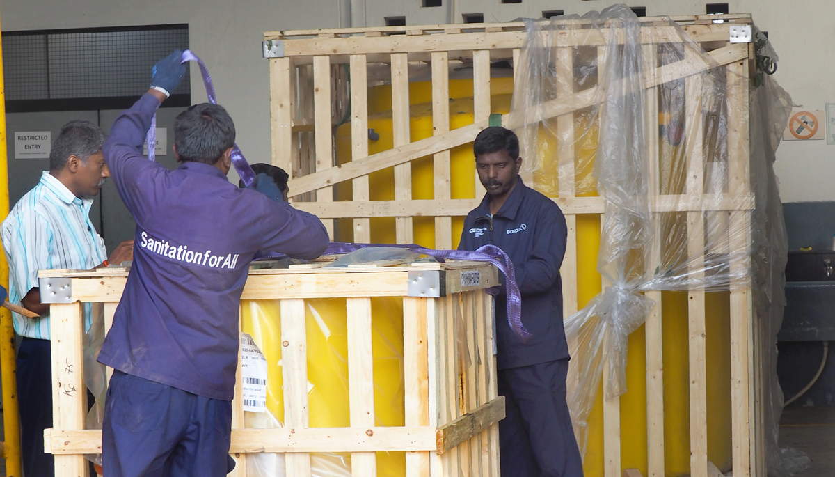 INNOQUA India demo site installation: unpacking the tanks