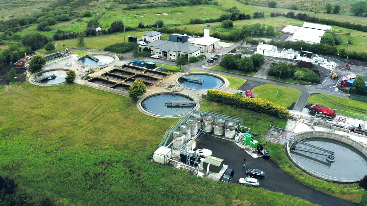 The INNOQUA pilot site at NUI Galway WRF next to the Tuam Wastewater Treatment Plant (see the green tanks)