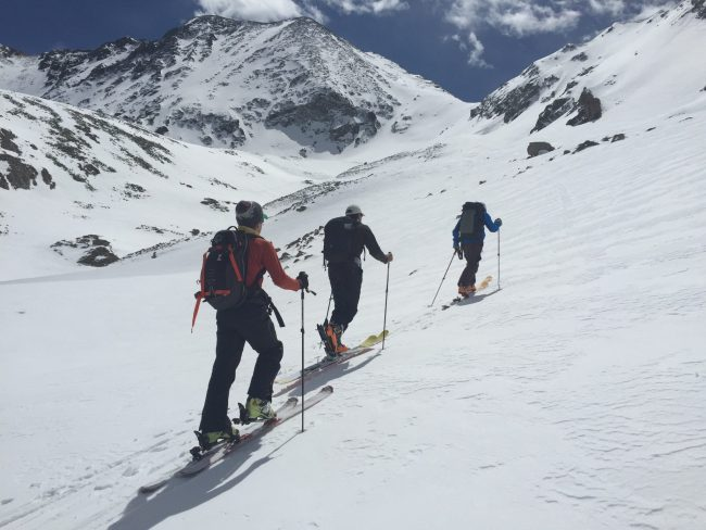 Backcountry skiing in Mayflower Gulch_ CO