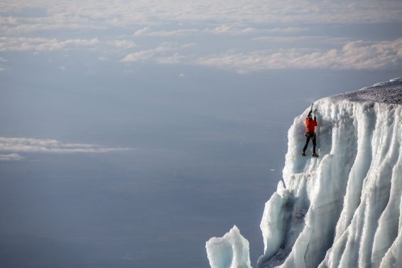 Will Gadd  ice climbing near the summit at 19,000 feet on the glacier ice on Mount Kilimanaro in Tanzania, Africa on October 30, 2014.