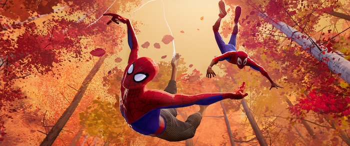 Peter Parker and Miles Morales in Spider-Man: Into the Spider-Verse