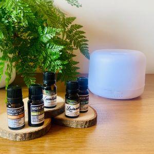 Kit Aromaterapia Humidificador Difusor com 5 óleos essenciais