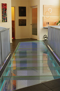 Glass Floor Panels   Stair Treads for Bridge  Landings   Decking     Glass floor bridge over stair landing