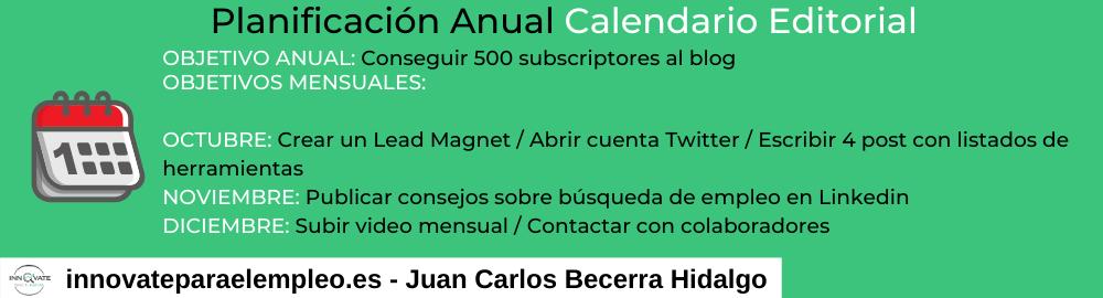 Planificación anual calendario editorial