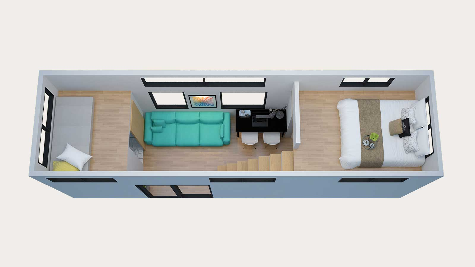 Floor plans of tiny home model - loft