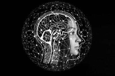 Cerveau humain avec visage de robot et représentation d'un algorithme
