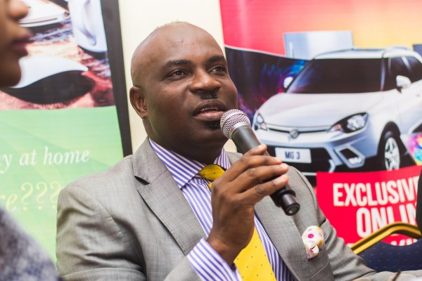 Mr Abiona Babarinde, General Manager, Marketing and corporate communications, Coscharis Motors explaining why the company is giving away an iconic Morris Garages car, exclusively marketed by Coscharis.