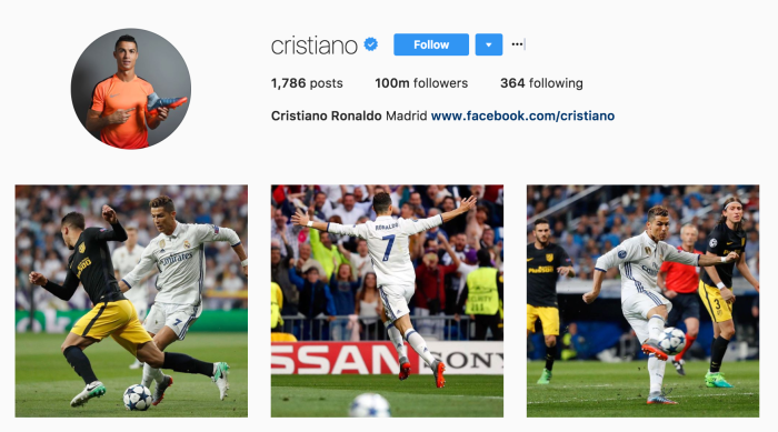 Cristiano Ronaldo is the first male to hit 100 million followers on Instagram Screen Shot 2017 05 04 at 21