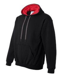 Gildan #185C00 - black hoodie with red contrast