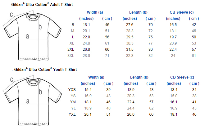 Gildan tee shirt price chart table
