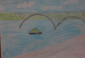 I drew Preobrazhensky Bridge. It is in my town. It is very beautiful. It connects the parts of my town. At rush hour there are sometimes traffic jams there. I rarely get stuck there with my dad when we go to school.