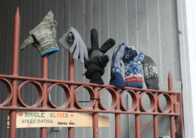 Someone made a spot for lost single gloves -- how funny!