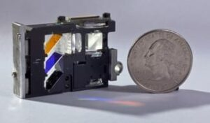 Researchers used the technology to create a small picoprojector, seen here, which could be embedded in a smartphone, tablet or other device. (Image courtesy of ImagineOptix Corp.)