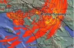 This image shows detail from the M8 simulation. (Credit: Southern California Earthquake Center)
