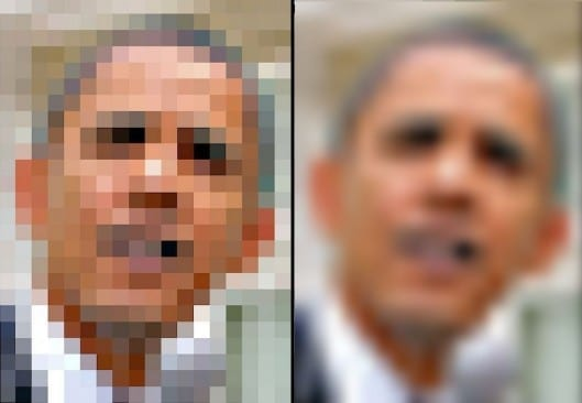 The President of the United States in 16 x 20 pixel resolution – a blurred, yet clea...