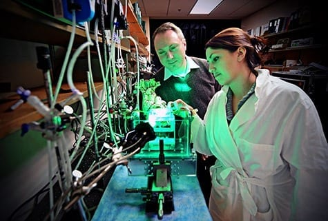 JAMES BYARD/WUSTL PHOTOS Igor Efimov, PhD, the Lucy & Stanley Lopata Distinguished Professor of Biomedical Engineering, works with Sarah Gutbrod, PhD candidate in biomedical engineering in the School of Engineering & Applied Science, in Efimov's lab in Whitaker Hall. Efimov and a team of researchers are developing a custom-fitted, implantable device that can deliver treatment or predict an impending heart attack before a patient shows any physical symptoms.