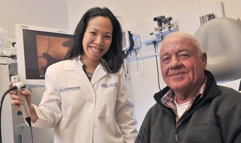Dr. Susie Chen, Assistant Professor of Radiation Oncology (left), oversaw CyberKnife treatments for patient Stephen Wiley.