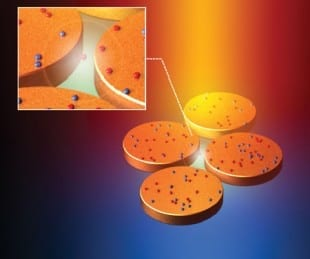 Rice's SECARS molecular sensor contains an optical amplifier made of four gold discs arranged in a diamond-shaped pattern. A two-coherent-laser setup amplifies the optical signatures of molecules in the center of the structure as much as 100 billion times. Credit: Y. Zhang/Rice University - See more at: http://news.rice.edu/2014/07/15/rice-nanophotonics-experts-create-powerful-molecular-sensor-2/#sthash.AzwnaRlw.dpuf